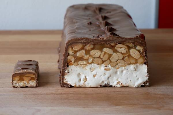 Homemade Giant Snickers Bar